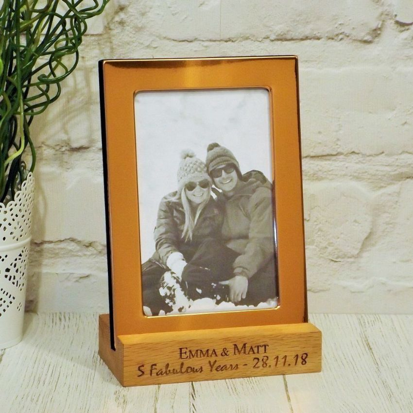 Copper Photo Frame with Personalised Solid Oak Stand Anniversary Gift
